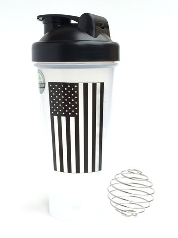 The American Bottle Black U.S. Flag Mettle Force Blender Bottle/Shaker Cup #gotMettle #militarymuscle