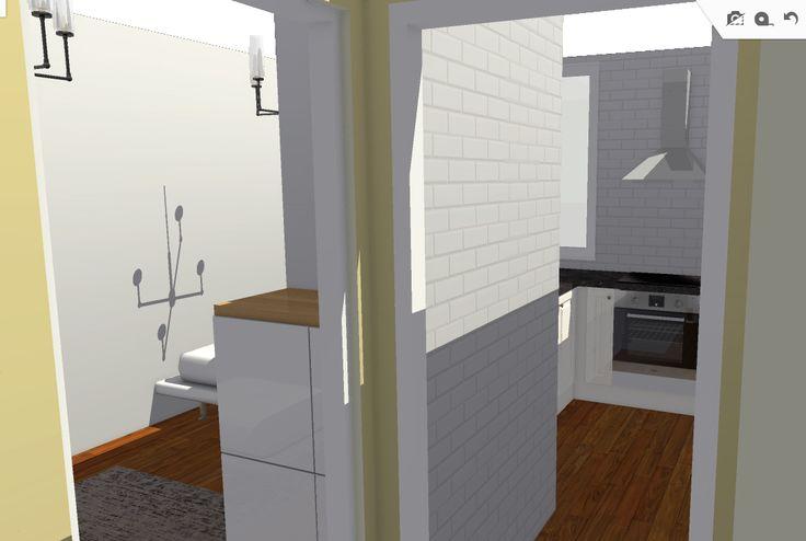 Vista desde entrada hacia cocina y dormitorio.