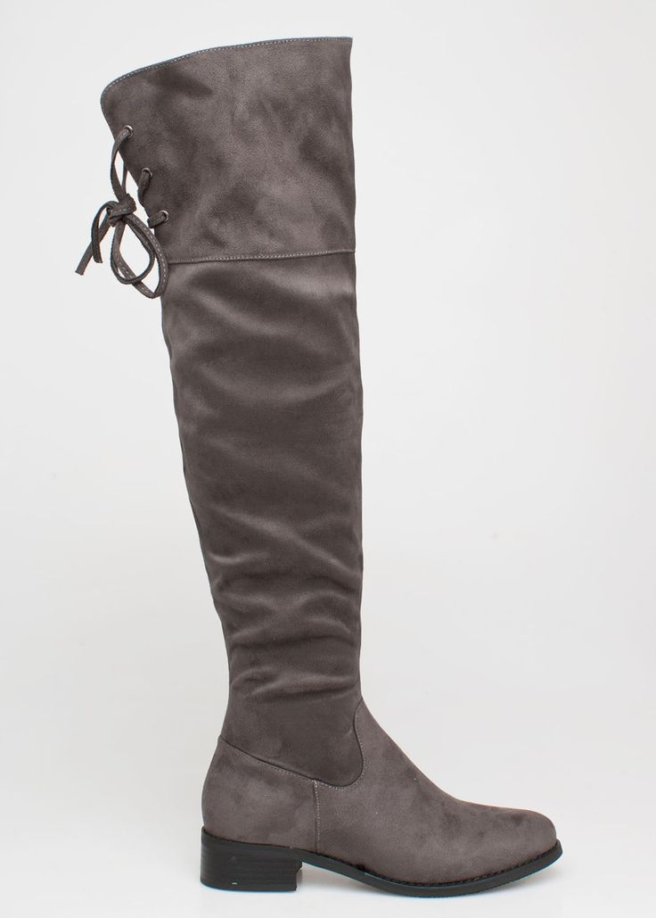 Gaily over the knee boot, γκρι