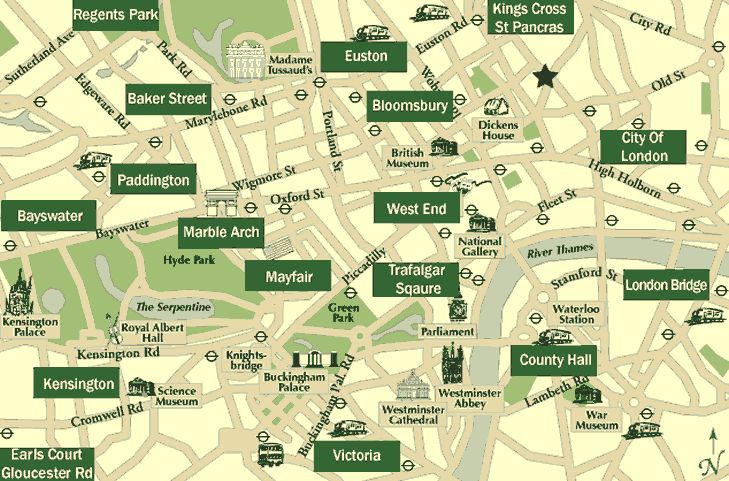 Useful description of London Hotel Districts including relative expense, transporation and attractions