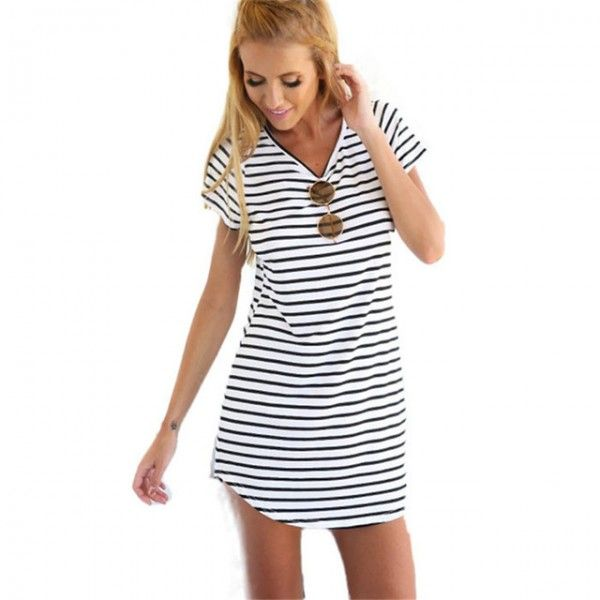 LOVESKY NEW WOMEN CREW NECK SHORT SLEEVE STRIPED LOOSE T-SHIRT MINI DRESS SUNDRESS PLUS SIZE WOMEN BEACH DRESS WHOLESALE  http://stoonshop.top/product/lovesky-new-women-crew-neck-short-sleeve-striped-loose-t-shirt-mini-dress-sundress-plus-size-women-beach-dress-wholesale/