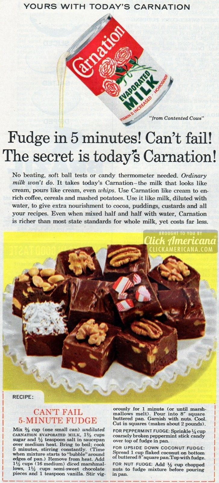 Can't Fail 5-minute Fudge Fudge in 5 minutes! Can't fail! The secret is today's Carnation. No beating, soft ball tests or candy thermometer needed.   Can't Fail 5-minute Fudge recipe Ingredients 2/3 cup evaporated milk, undiluted 1-2/3 cups sugar 1/2 teaspoon salt 1 1/2 cups marshmallows, diced 1-1/2 cups semisweet chocolate chips 1 teaspoon vanilla …