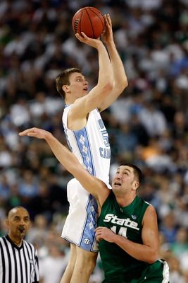 North Carolina great Tyler Hansbrough.  Three time consensus All American and the ALL TIME career scoring leader in ACC history. Hanbrough led the Tarheels to the 2009 NCAA championship.