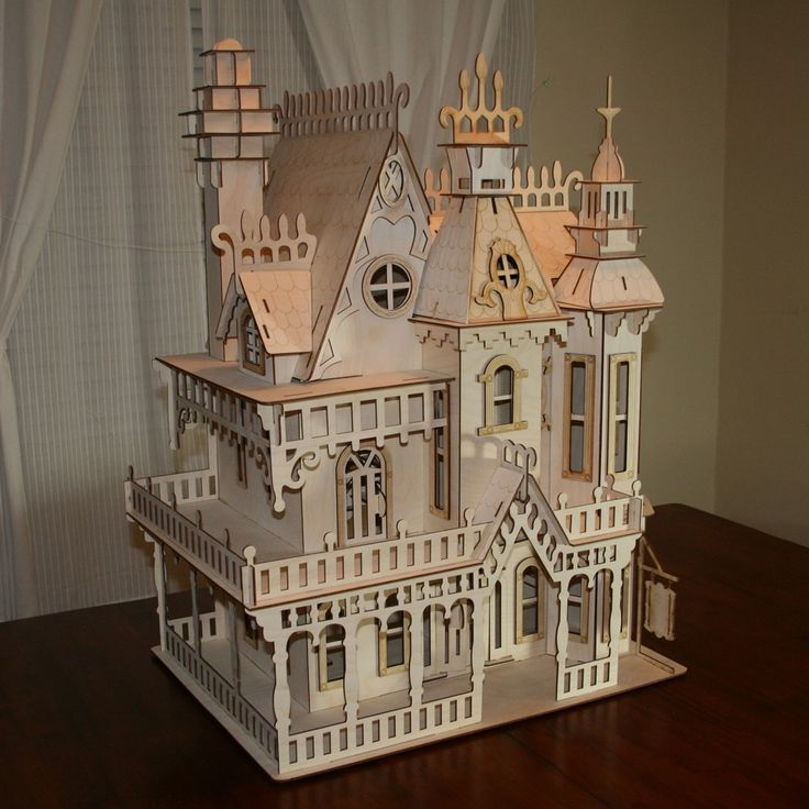 Large victorian dollhouse kit a well baltic birch and for Victorian style kit homes