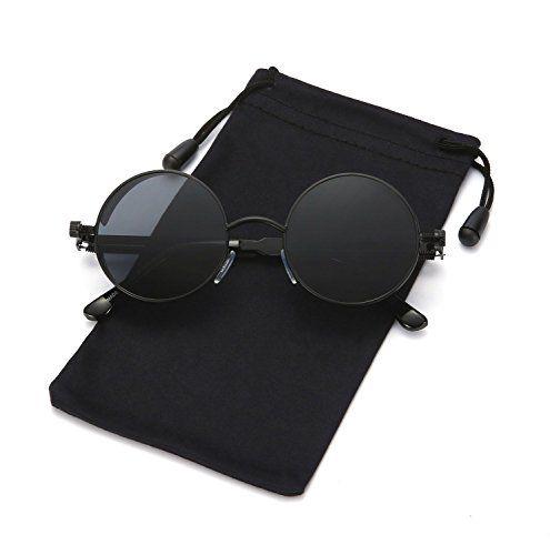 27c0c98a205 LOOKEYE Retro Round Steampunk Sunglasses Gothic Hippie Shades Metal  Mirrored UV400 PROTECTION  This John Lennon
