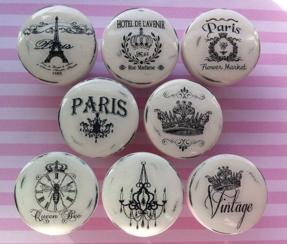 NEW Vintage Drawer Knobs Pulls Paris France Shabby Chic Cottage French Provincial White Refinished Dresser Chandelier Crown Eiffel Tower