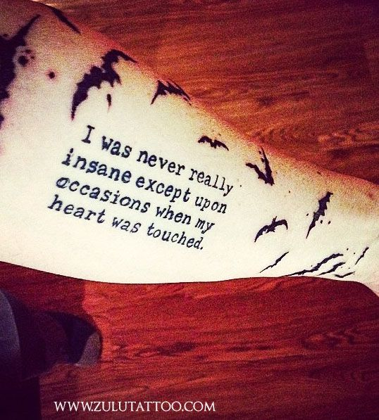 Script and bats tattoo by Pinky Rae at Zulu Tattoo Austin Texas. The quote is from Edgar Allen Poe and the bats are Ralph Steadman. #tattoo