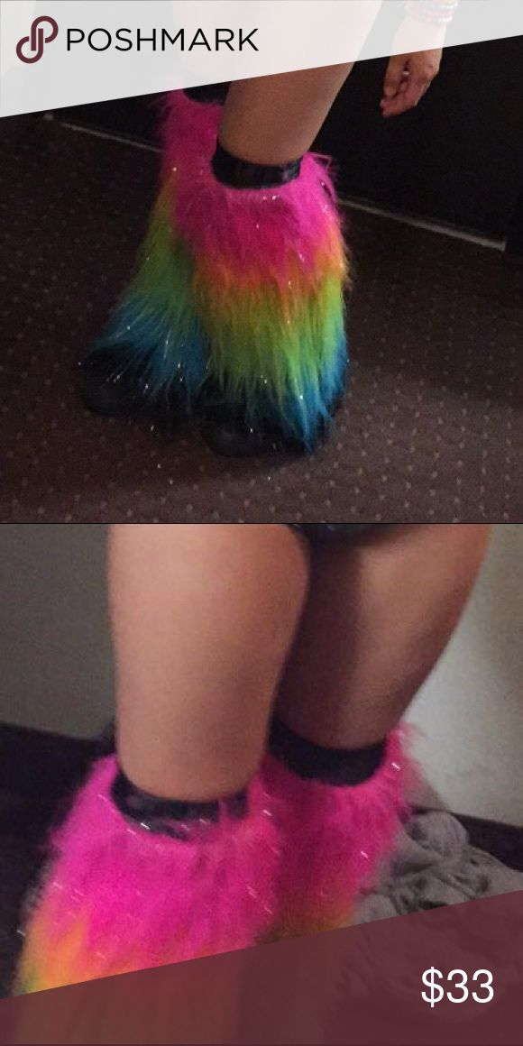 Sparkly rainbow raver girl fluffies These aren't shoes, they just go over your feet and are like fluffy leg warmers. You could use these for a costume, but they are usually a staple piece for any raver. Rave clothes can get very expensive! Other