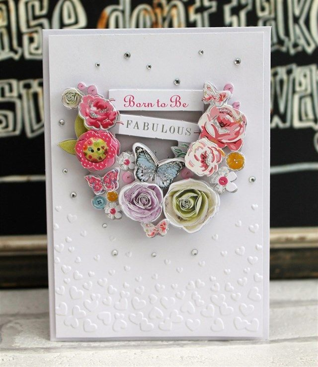 Katie used the Papermania Bellissima collection to make this embossed card. #handmade #cardmaking #craft #flowers