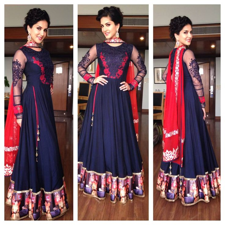 Beautiful floor length anarkali in navy
