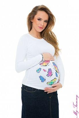 """Těhotenské tričko  """"Motýlci"""" bílé"""