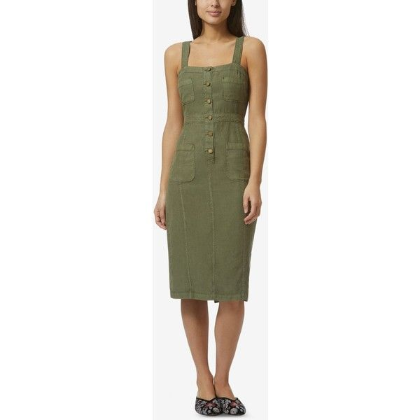 Avec Les Filles Fitted Apron Dress ($74) ❤ liked on Polyvore featuring dresses, khaki green, button dress, military style dress, green color dress, khaki green dress and khaki dress