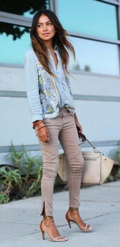 summer outfits  Denim Jacket + Blush Pants