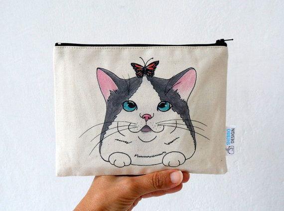 Cat  Pouch Zipper Pouch  Cat with Butterfly by ShebboDesign #cute #cat #pouch...gift for cat lovers!