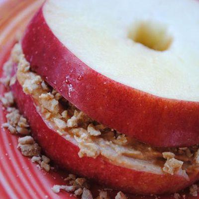 Apple, peanut butter, and granola breakfast sandwich.  Yum.