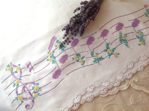 VINTAGE. PILLOWCASE. EMBROIDERY. Single white pillowcase with crochet edging.