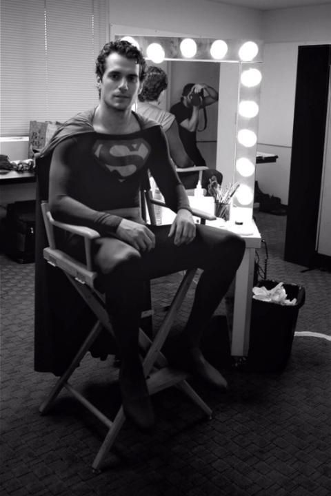 Henry Cavill in Christopher Reeve's Superman suit