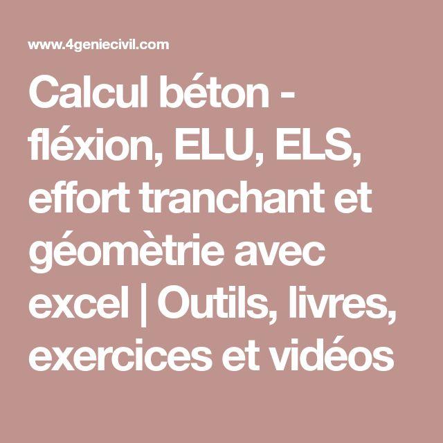 Calcul béton - fléxion, ELU, ELS, effort tranchant et géomètrie avec excel | Outils, livres, exercices et vidéos