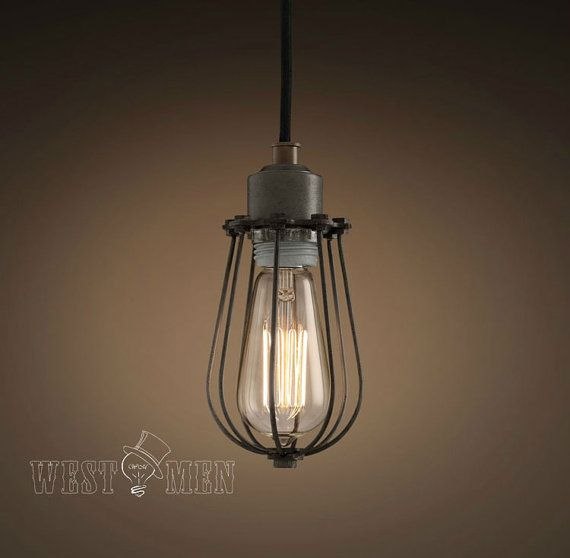 modern industrial kitchen pendant lighting fixture hanging single cage midcentury Edison penant light for bathroom CAHOL on Etsy, £36.55