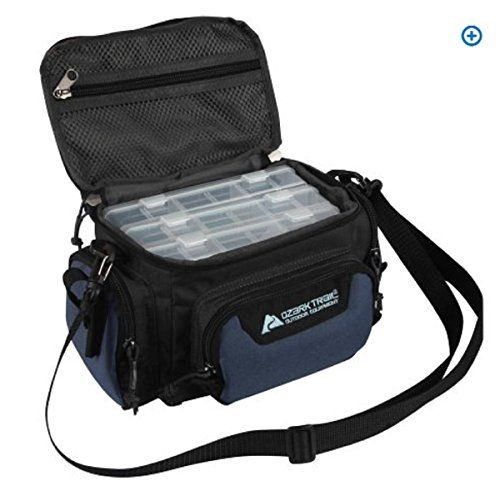 "Ozark Trail Blue Soft-Sided Fishing Tackle Storage Bag with 3 Utility Boxes 11x7x6.25""  http://fishingrodsreelsandgear.com/product/ozark-trail-blue-soft-sided-fishing-tackle-storage-bag-with-3-utility-boxes-11x7x6-25/  This Fishing Tackle Storage Bag is made of durable polyester fabric with PVC coating This Fishing Tackle Storage Bag overall size: 11″L x 7″W x 6.25″H Includes 3 Utility Storage Boxes and an Adjustable, Removable Shoulder Strap"