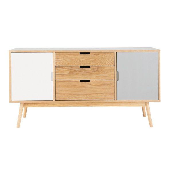 Wit en grijs houten vintage dressoir - Fjord