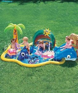 New Banzai Baby Sprinkles Splish Splash Pool Inflatable Pool w Sunshade Canopy | eBay