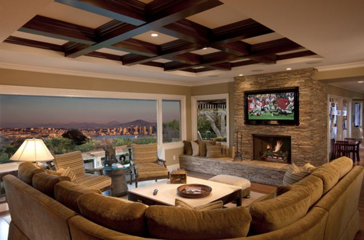 Bigger TV needed for game day!! Beautiful living room idea. #teamnuvision #livingroom #superbowl2017