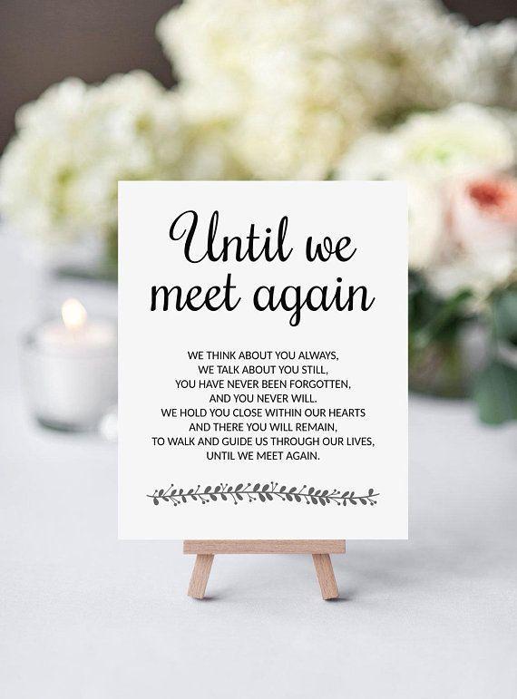 Bis wir uns wieder treffen moderne druckbare Hochzeit Memorial Zeichen   – Wedding