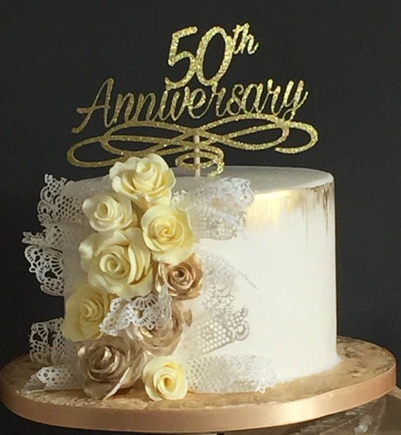 Anniversary Cake Topper Golden Wedding Anniversary Table Etsy Golden Wedding Anniversary Cake 50th Wedding Anniversary Cakes 50th Wedding Anniversary Cakes Gold