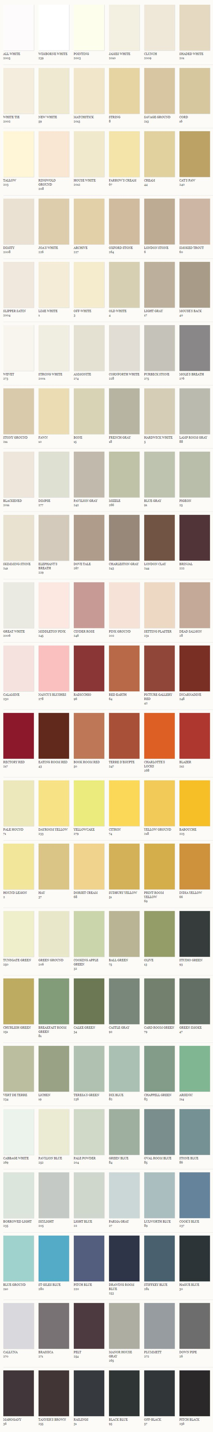 carta de colores de farrow and ball