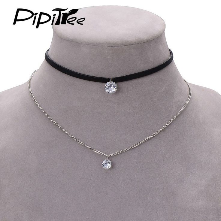 Leather Choker Necklace with Crystal Charm