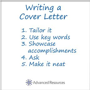 your job search tips for writing a cover letter