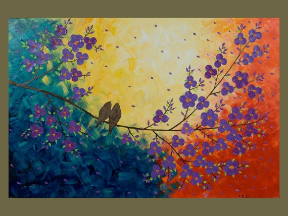 "Original Modern Texture Impasto Palette Knife Painting Landscape Flower Tree Wall Decor ""Love Birds and Cherry Blossom"""
