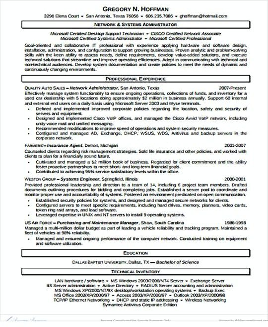 647 best Resume template images on Pinterest - network administrator resume