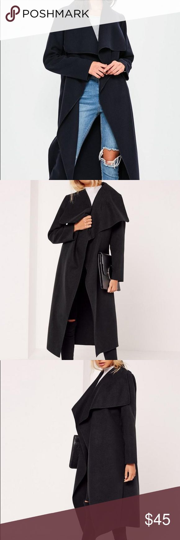 MISSGUIDED WATERFALL BLACK DUSTER COAT SZ4 MISSGUIDED BLACK WATERFALL DUSTER COAT SZ 4 BRAND NEW WITH TAGS NEVER WORN BOUGHT AT NORDSTROM A COUPLE MONTHS AGO Missguided Jackets & Coats Pea Coats