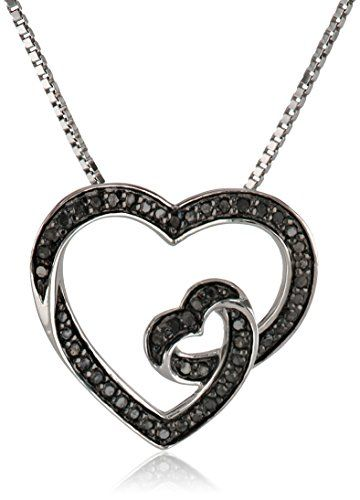 "Sterling Silver 1/5cttw, Black Diamond Heart Pendant Necklace, 18"" Amazon Collection http://smile.amazon.com/dp/B00DMWO8I8/ref=cm_sw_r_pi_dp_xMSQwb0PXGW1T"