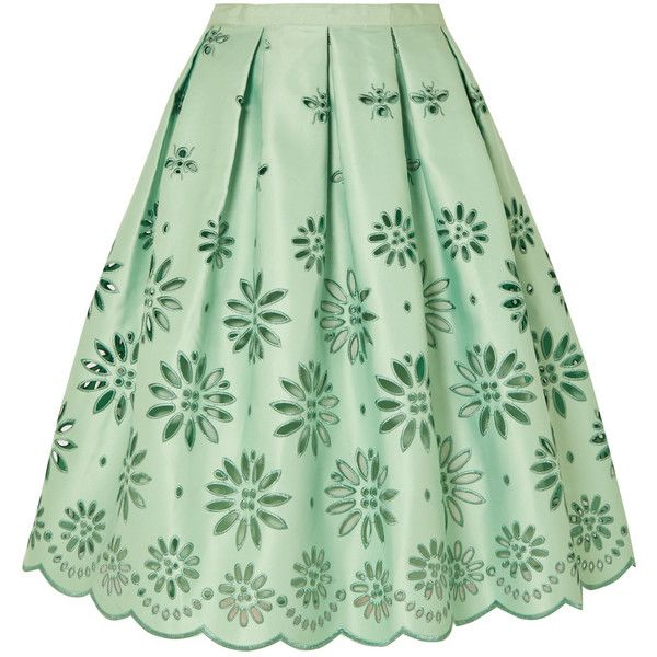 J.Crew Embroidered duchesse-satin midi skirt ($455) ❤ liked on Polyvore featuring skirts, floral skirts, midi flare skirt, green a line skirt, floral flare skirt and knee length flared skirts