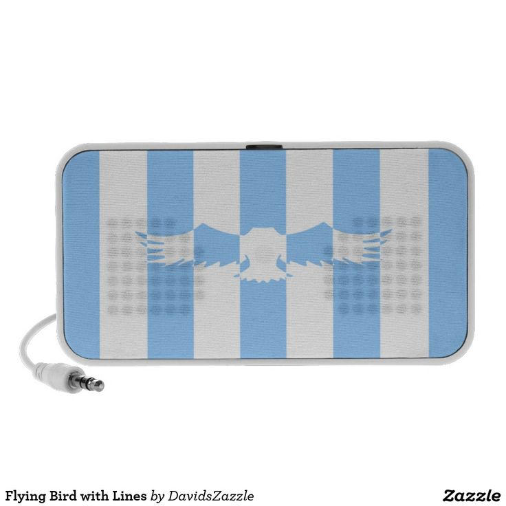 Flying Bird with Lines USB Speaker  Available on more products! Use the design name to search my Zazzle Products Page.  #eagle #bird #flight #flying #fly #feather #wings #blue #sky #take #white #animal #nature #planet #earth #illustration #silhouette #chic #contemporary #buy #sale #zazzle #tablet #case #electronic #accessory #laptop #computer #sleeve #usb #speaker