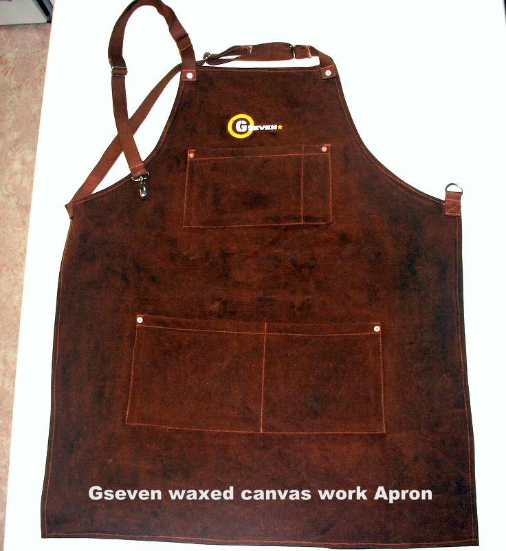 G7utility.com waxed canvas & leather work apron - Brown
