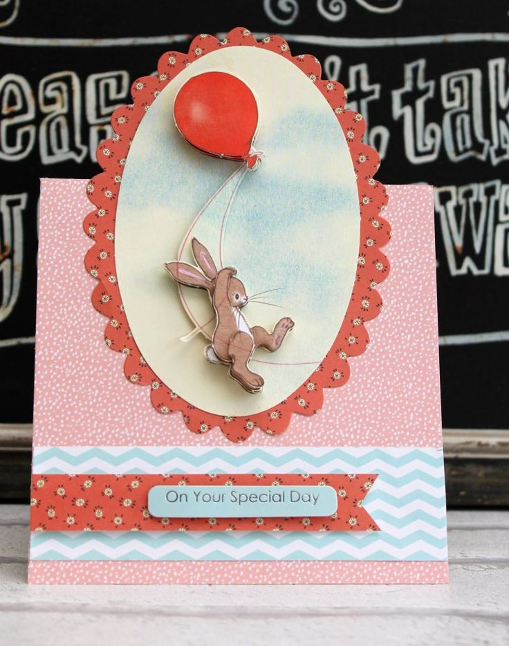Belle and Boo bunny with balloon card by Katie Skilton