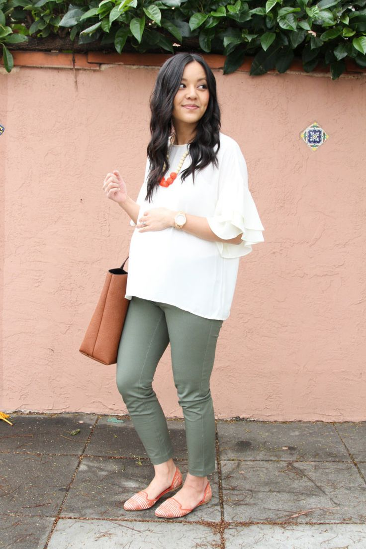 Casual maternity outfit: blouse with flared sleeves + green chino pants + orange balloons + b …   – Maternity