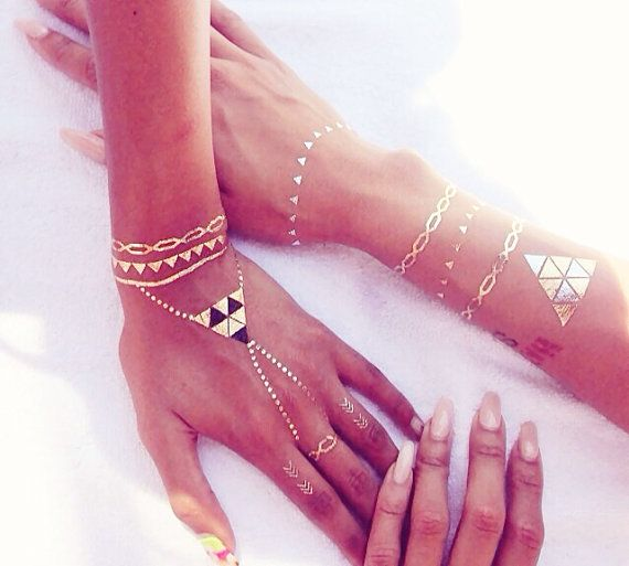 Rouelle ELLEtatts Metallic Tattoos, flash tattoos, gold tattoos, silver tattoos, temporary tattoos, jewelry tattoos.
