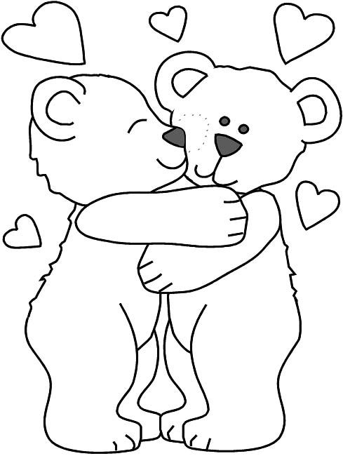 pictures two bear hug coloring pages - February Coloring Pages