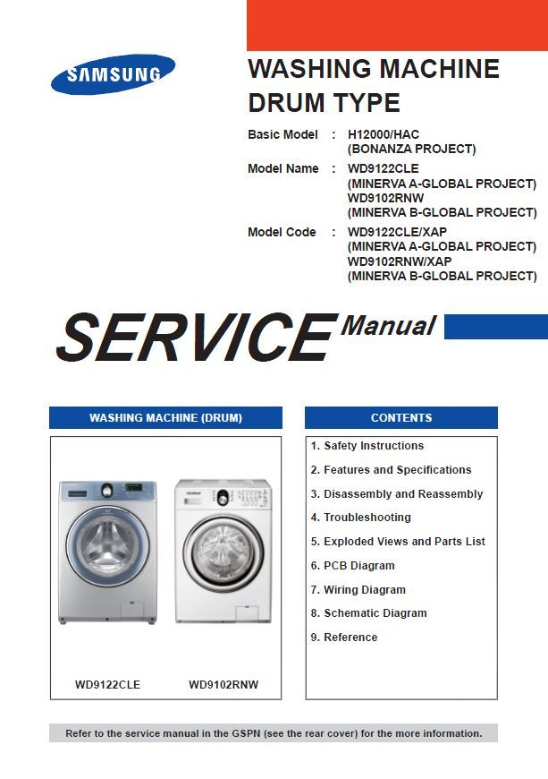 Samsung Wd9122cle Wd9102rnw Washer Service Manual Diy Repair Instructions Diy Repair Washing Machine Service Instruction