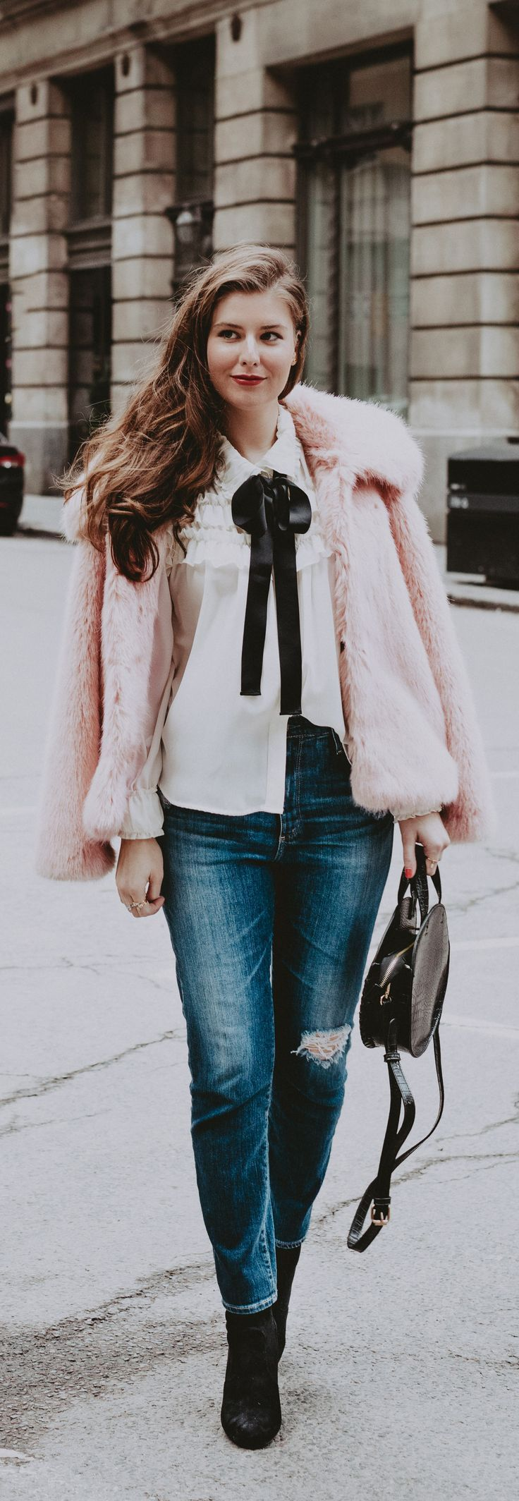 Adore this pink fur coat, white blouse with bow - winter style, street style
