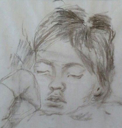 Zsuzsi is sleeping - My grandfather's drawing of me when i was a kid