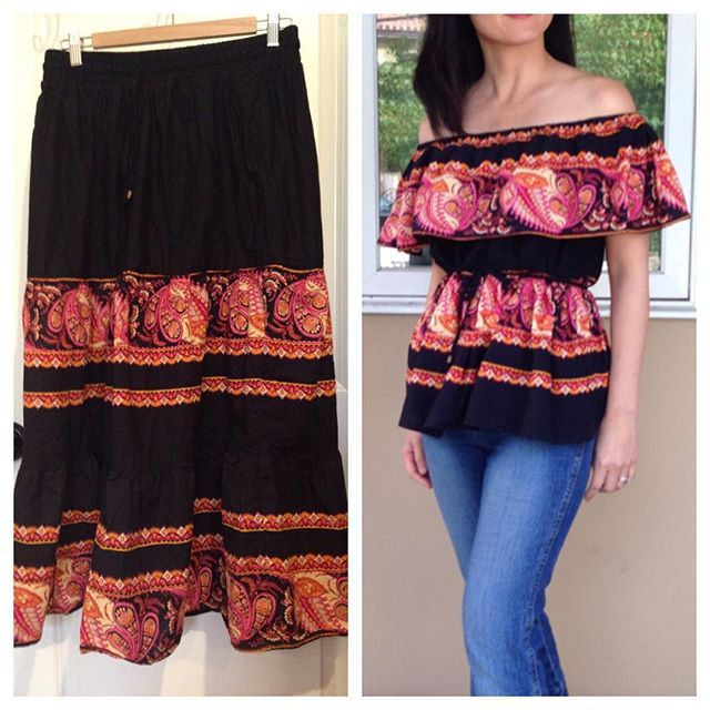 Refashioned a $4 thrift store skirt to an off the shoulder blouse