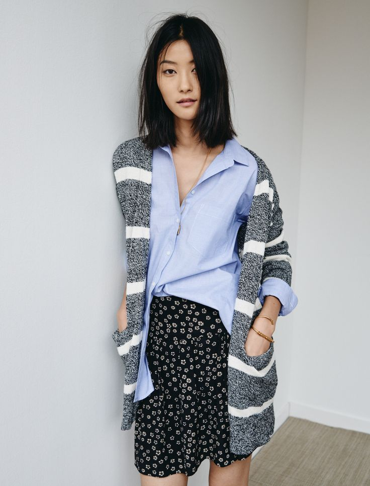 madewell skyline skirt worn with the oversized boyshirt + striped cardigan sweater.