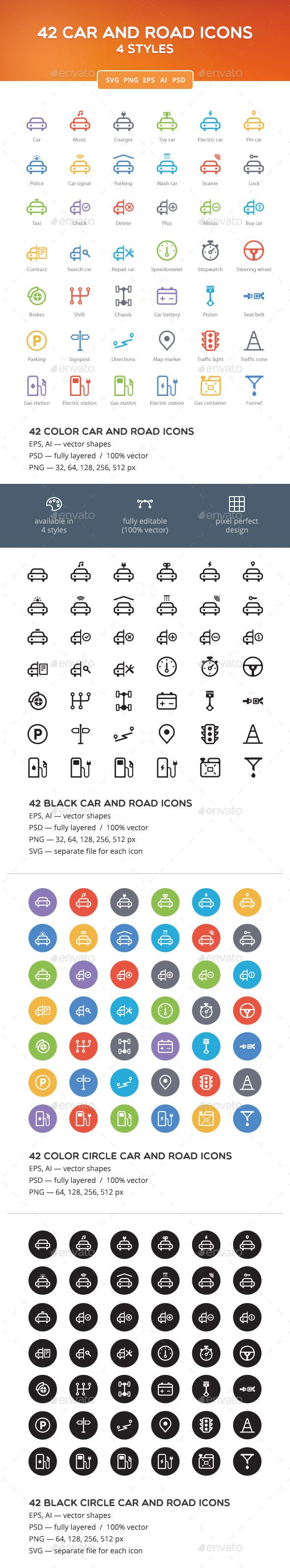 Car and Road Icon Set — Photoshop PSD #map #repair • Available here → graphicriver.net/…