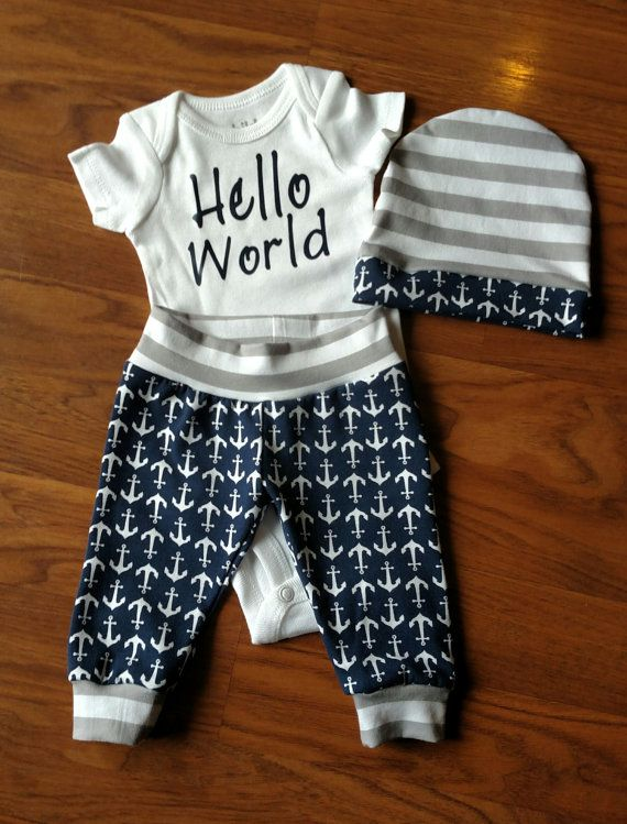 Baby Boy Going Home Hello World Anchor Outfit by ShopJaeMarie